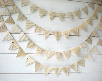 Paper Garland, Dots Garland, BookPage Garland, Book Page Bunting, Vintage Book Decoration, Wedding or Birthday decoration, 10 feet long