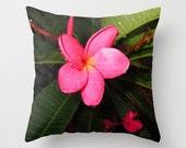 Plumeria Flower Pillow, Hot Pink Pillow, Hawaiian Pillow, Girly Pillow, Photo Pillow Case, Beach House Pillows,Tropical Pillow, 16X16 18X18
