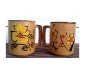 Vintage Stoneware Mugs Set of 2 -1970's Japanese Stoneware- Brown/Green/Yellow/Orange