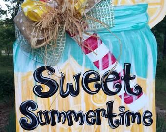 Lemonade or Tea Summer Door Hanger