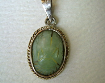 vintage sterling scarab pendant, green stone