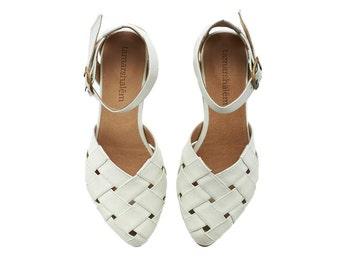 Sophie,  Brides shoes, White Sandals, Leather Sandals, handmade, wedding shoes flats, leather shoes, by Tamar Shalem on etsy
