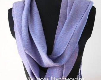Silk and Tencel Handwoven Lavender Scarf, Extra Long Luxury Scarf, One of a Kind Accessory