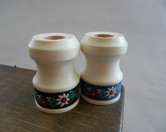 Wooden candle holder Set of 2 small wooden candle holders White candle holders with floral ribbons