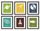 Outer Space Decor, Boys Room Decor, Space Nursery, Rocket Art, Astronomy Art, Childrens Art, Kids Wall Decor, Science Art, Playroom Art