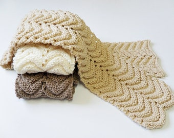 Knit / Chevron Scarf (Please read AVAILABILITY for color and size)