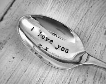 Vintage Silver Plated Personalised Tea Spoon - I Love you x