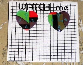 1980s Unworn Watch Me clock Earrings (pierced) (3592)