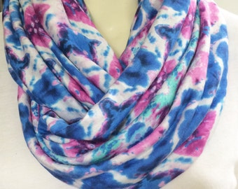 Womens infinity scarf, pretty watercolor infinity scarf, tie dyed print scarf, purple, pink, teal scarf, soft jersey womens scarf