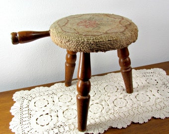 Milking Stool with Hooked Cover Vintage