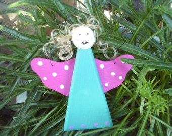 Angel with Dark Pink Wings Hanging Ornament (4)