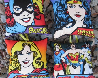 DC Comic Book Female Women Superhero Pillow Ornaments (Batgirl, Supergirl, Wonder Woman, Girl Power)