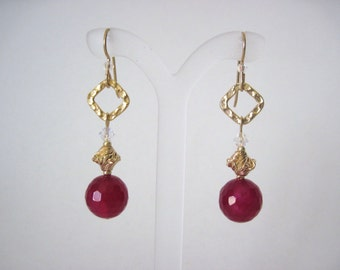 Hot pink agate earrings