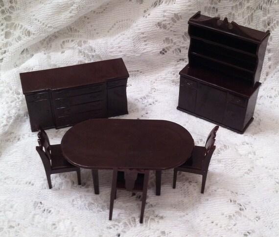 Marx dollhouse dining room furniture brown set by onecoolcentury - Dollhouse dining room furniture ...