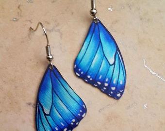 Blue Azure Sky Morpho Butterfly Elegant Wing Realistic Nature Metal Earrings