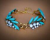 Teal and Gold Laurel Leaf Bracelet