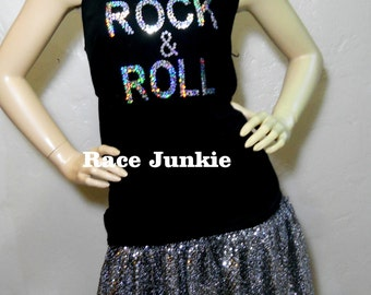Rock and Roll Sparkly Skirt and Tank Set Half Marathon / Running / Race / Costume / Vegas/ Cosplay / Elvis