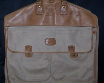 Vintage Ghurka Marley Hodgson #26 Leather Cotton Canvas Twill Garment Bag No C 540 Travel