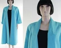 Vintage 1960s Women's Aqua Blue Swing Coat - Long Sleeves - Rayon Blend - Lined - Mad Men - Ladies Turquoise Clutch Coat