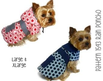 Dog Rain Coat Pattern 1543 * Large & XLarge * Dog Clothes Sewing Pattern * Dog Coat Pattern * Dog Jacket * Little Dog Coat * Dog Raincoat
