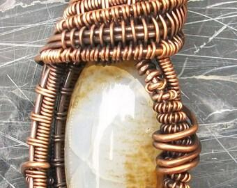 Copper Wire Wrapped Cream Agate Heady Pendant by Rebecca Weber