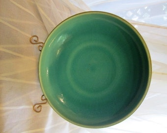 Vintage Large Chartreuse and Teal Center Bowl, Rookwood, 1921