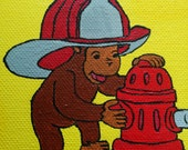 A Curious George Inspired Painting of Firefighter Monkey