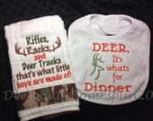 Deer hunting, Baby Shower gift set,  burp cloth/bib set, handmade with camo ribbon trim. Deer for Dinner, what little boys are made of....