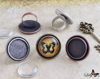 "15 Vintage Ring Kits - Choose from 3 Colors - 15 20mm (.78"") Round Beveled Ring Trays - 15 20mm (.78"") Round Glass Cabochons"