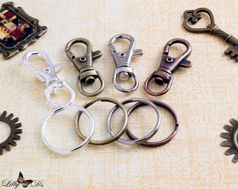 "4 Key Chains with Key Rings - Economical - Classic Lobster Swivels and 1"" Inch Key Ring Loops - Keychain Fobs - KeyChains"