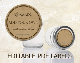 Editable labels Craft paper tags labels for mason jars Editable printable labels mason jar labels Editable PDF printable round labels