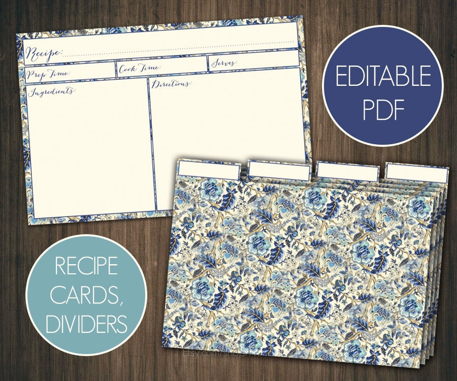 blue floral editable recipe cards divider 4x6 recipe cards. Black Bedroom Furniture Sets. Home Design Ideas
