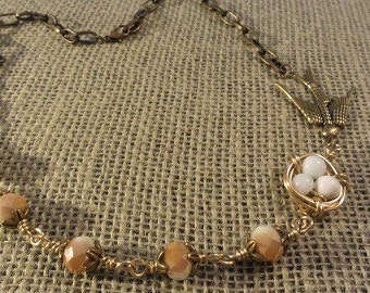 Brass Bird and Nest Necklace