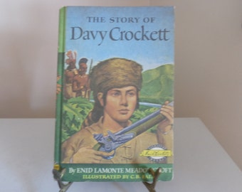 "Vintage ""The Story Of Davy Crockett"" Weekly Reader Book, 1952, Grosset & Dunlap's ""Signature Books""-  Davy Crockett Books - Vintage Books"