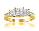 14k Yellow Gold Princess-cut Diamond Invisible-Set Engagement Wedding Ring (1 cttw, H-I, I1-I2)