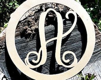 Monogram Letter, Door Hanger, Framed Letter, Wooden, Circle Monogram