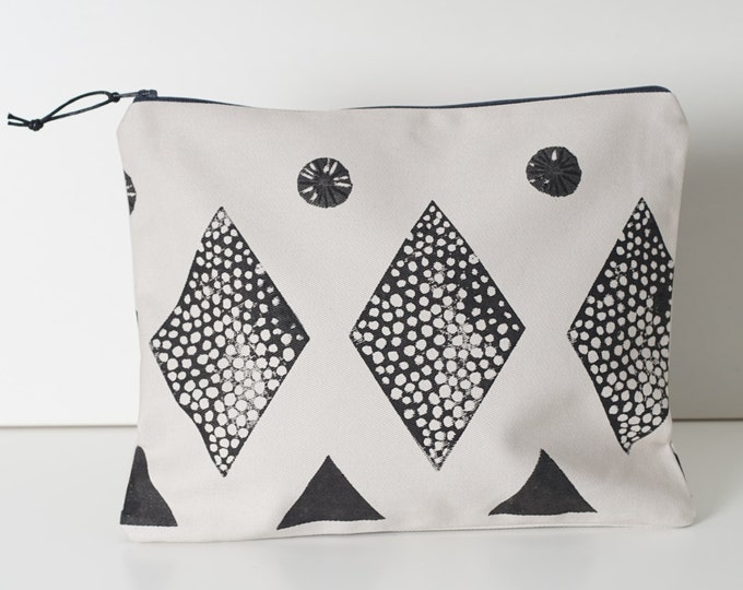 Large Zipper Pouch - Block Printed