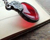 red glass, wonderful glass, STATEMENT pendant, Handmade Art Jewelry, One of a kind,  mariaela, red glass, red necklace