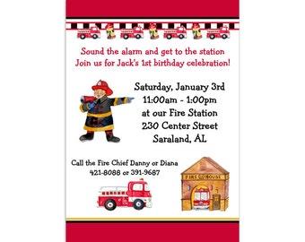 Printed Fireman Birthday Invitations | Fireman Party Invitation | Firetruck Birthday Party | Firefighter Invitations | Firehouse Invites