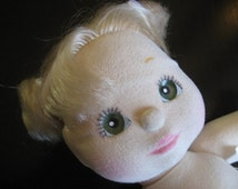 Vintage 1985 MATTEL My Child Doll - Little BLONDE GIRL with Blue/Green Eyes, Medium Length Hair in Pig Tails - Very Clean - Original Tags
