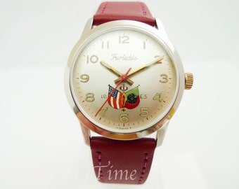 Furtado's Semag Men's Watch 1960's Manual 17 Jewel Movement Stainless Steel Case Hand Painted Dial