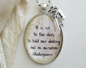 Shakespeare jewelry, inspirational quote necklace, William Shakespeare