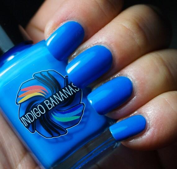 Neon Blue Nail Polish: Carbon Dallas Blue Neon Creme Nail Polish By Indigo