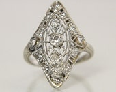 Antique Diamond Engagement Ring 14K White Gold Size 3 3/4 With Old European Cut Diamonds Edwardian Filigree And Hand Engraved Design