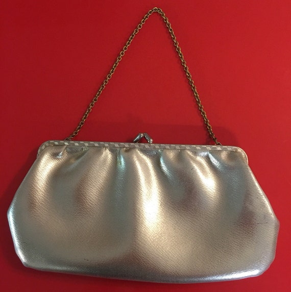 Vintage gold evening bag purse chain handle golden leatherette 1960s Mod wedding handbag bridal bridesmaid 60s vegan