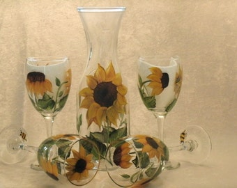 SUNFLOWER WINE GLASSES, set of four with matching carafe
