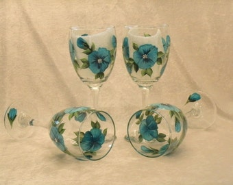 BLUE PANSY wine glasses, set of four