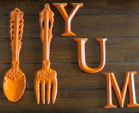 Kitchen Wall Decor Orange : Shabby chic kitchen wall d?cor bright orange or pick color