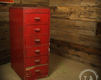 Vintage Industrial 6 Drawer Red Wooden Cabinet Parts Storage Decor