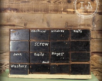 Vintage Industrial Folk Art Wood 16 Drawer Parts Organizer Tool Cabinet Chest Display